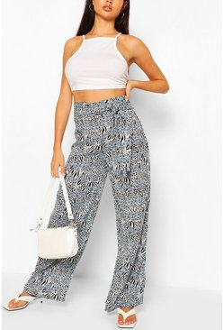 Blue Animal Print Woven Wide Leg Trousers