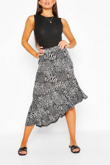 Black Ruffle Hem Animal Print Woven Midi Skirt