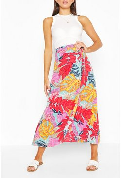 Turquoise Bright Tropical Print Woven Maxi Skirt