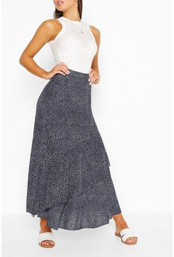 Navy Polka Dot Layered Woven Maxi Skirt