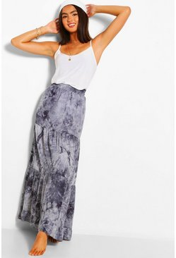 Grey Tie Dye Tiered Woven Maxi Skirt