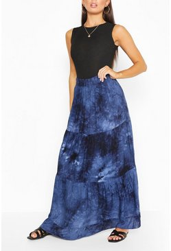 Navy Tie Dye Tiered Woven Maxi Skirt
