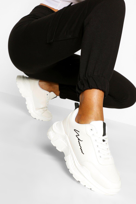 womens woman script chunky sneakers - white - 5