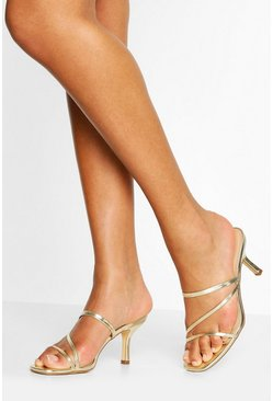 Gold Strappy Low Heel Mules