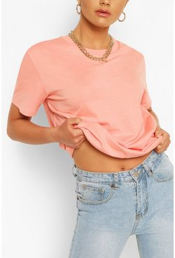 Peach Oversized Crew Neck T-Shirt