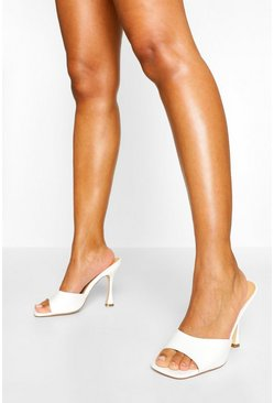 White Peeptoe High Heel Mules