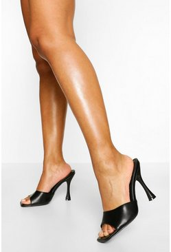 Black Peeptoe High Heel Mules
