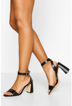 Black 2 Part Flare Block Heels
