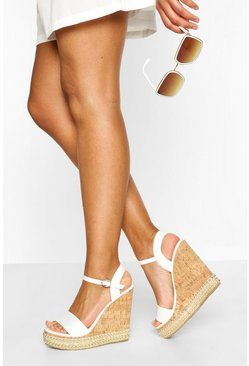 White 2 Part Studded Cork Wedges
