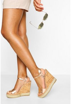 Rose gold 2 Part Studded Cork Wedges