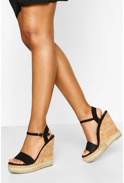 Black 2 Part Studded Cork Wedges