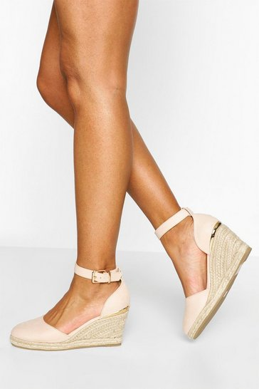 Nude Round Toes Wedges