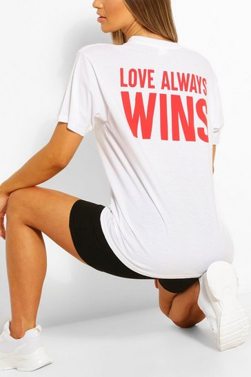 White Love Always Wins Printed T- Shirt