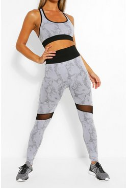 Grey Marble Sports Leggings