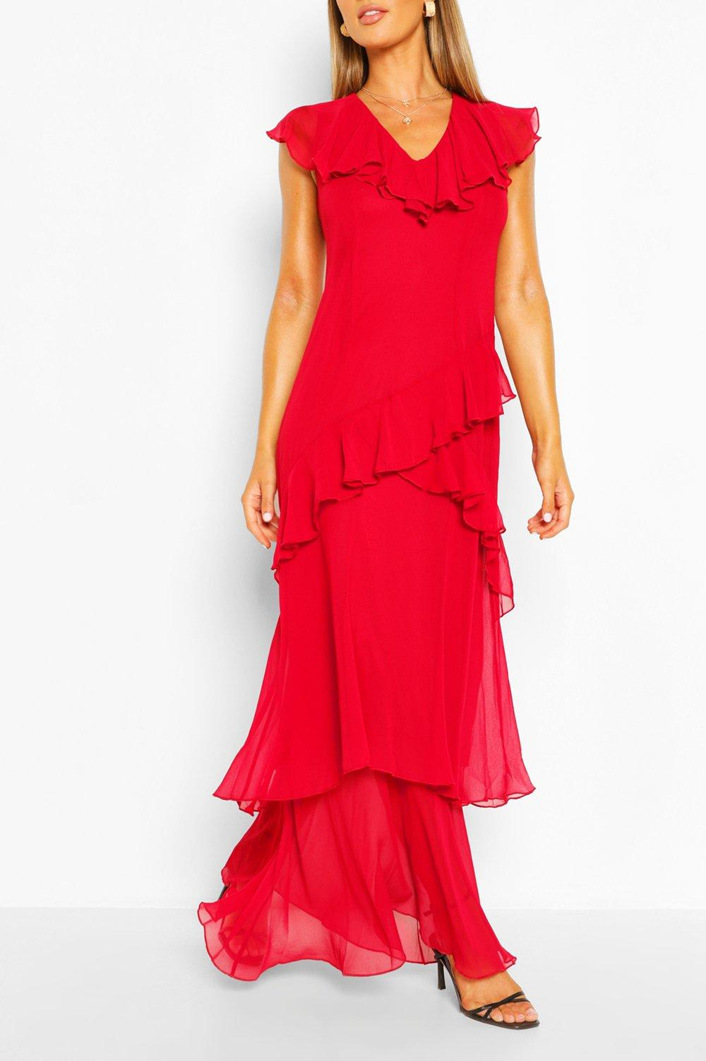 Vintage Prom Dresses, Homecoming Dress Womens Plunge Front Ruffle Maxi Dress - Red - 14 $18.00 AT vintagedancer.com