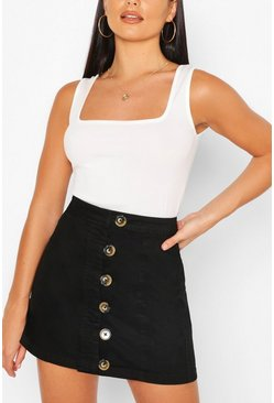 Black Denim Buttons Side Detail Mini Skirt