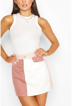Pink Contrast Patchwork Detail Denim Skirt