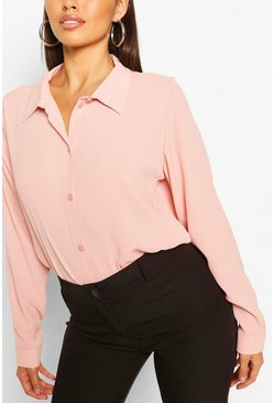 Pink Woven Button Through Shirt