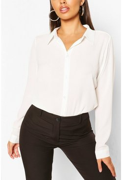 White Woven Button Through Shirt