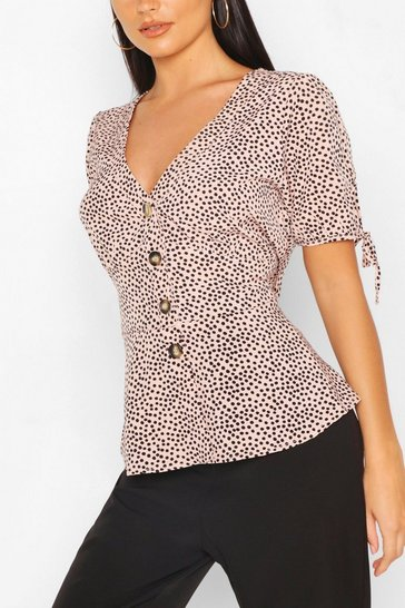 Pink Dalmatian Spot Button Through Blouse