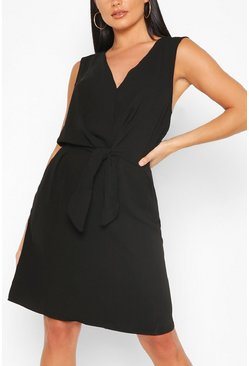 Black Sleeveless Woven Belted Shift Dress