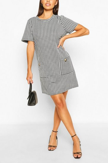 Black Dog Tooth Short Sleeve Shift Dress