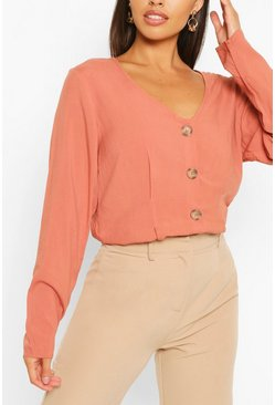 Woven Long Sleeve Button Through Blouse, Rust