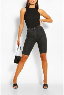 Washed black Longline Washed Denim Short