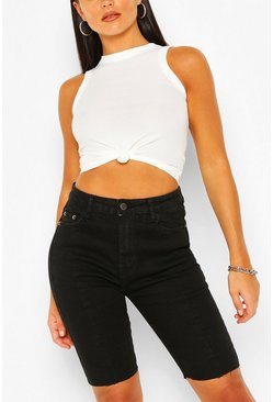 Black Longline Denim Shorts