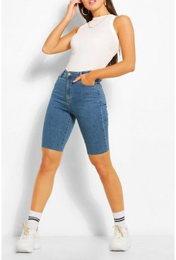 Mid blue Longline Denim Shorts