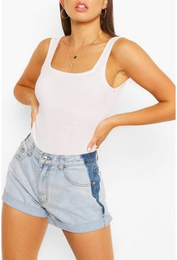 Light blue Denim Contrast Roll Up Hem Shorts