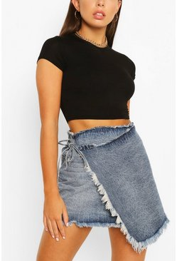 Mid blue Wrap Fray Hem Denim Skirt