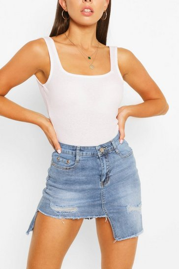 Mid blue Stepped Hem Ripped Denim Skirt