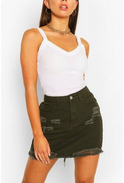 Distressed Denim Mini Skirt, Khaki