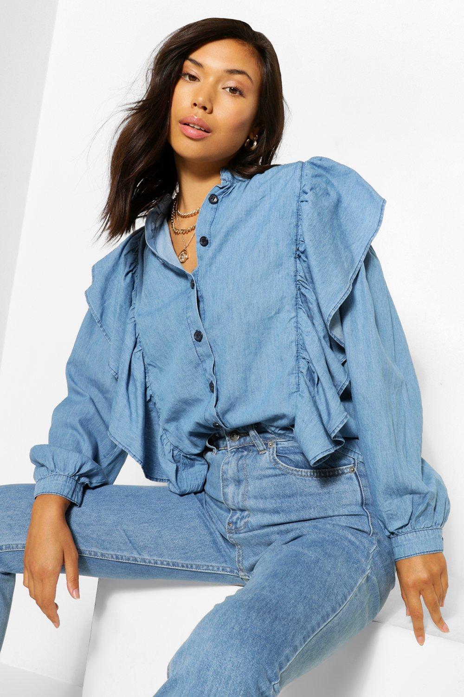 1980s Clothing, Fashion | 80s Style Clothes Womens Denim Ruffle Puff Sleeve Shirt - Blue - 12 $24.00 AT vintagedancer.com