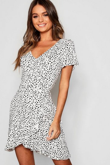 Ivory Dalmation Print Ruffle Tea Dress