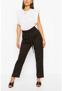 Black Woven Paperbag Trousers