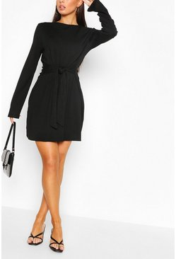 Woven Belted Shift Dress, Black