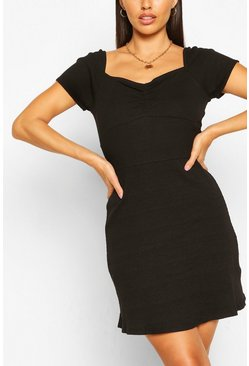 Rib Ruch Detail Mini Dress, Black