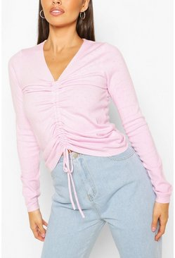 Lilac Ruched Front Jumper