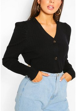 Black Rib Knit Puff Sleeve Cardigan