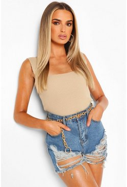 Stone Square Neck Rib Knit Top