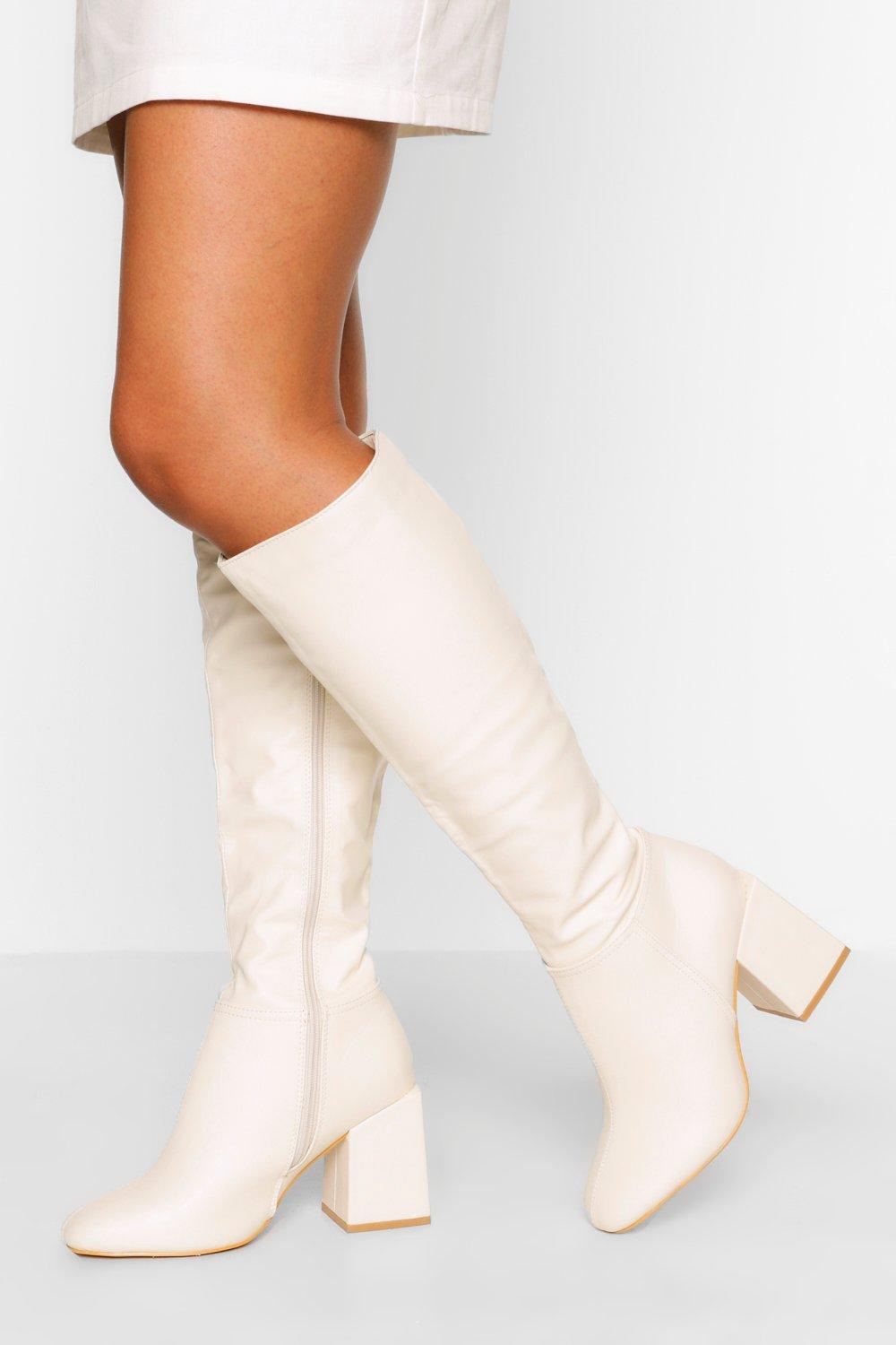 70s Shoes, Platforms, Boots, Heels | 1970s Shoes Womens Wide Fit Block Heel Knee High Boot - White - 10 $42.00 AT vintagedancer.com