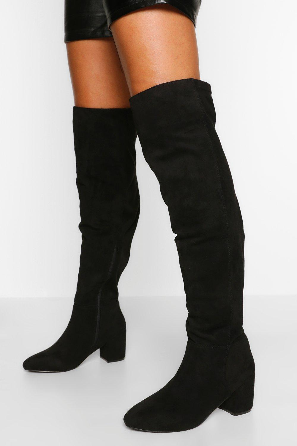 Vintage Boots, Retro Boots Womens Wide Fit Block Heel Stretch Over The Knee Boot - Black - 10 $38.00 AT vintagedancer.com