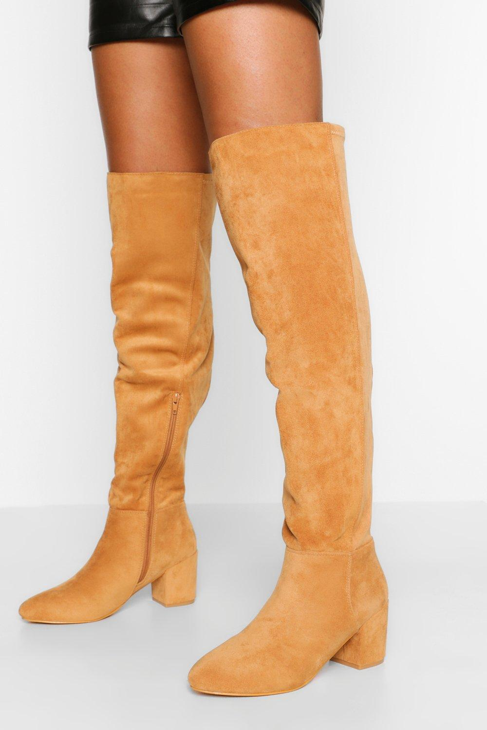 Vintage Boots, Retro Boots Womens Wide Fit Block Heel Stretch Over The Knee Boot - Brown - 10 $38.00 AT vintagedancer.com