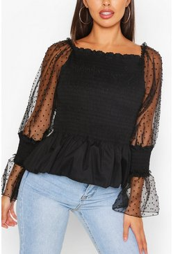Black SHIRRED DOBBY SLEEVE OFF THE SHOULDER TOP