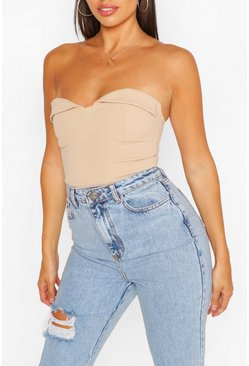 Stone Strapless Cup Detail Bodysuit