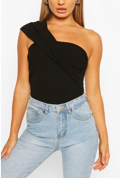 Black One Shoulder Pleated Bodysuit