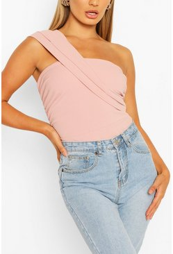 Dusky pink One Shoulder Pleated Bodysuit