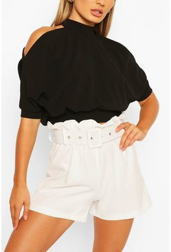 Black Cold Shoulder Short Sleeve Top